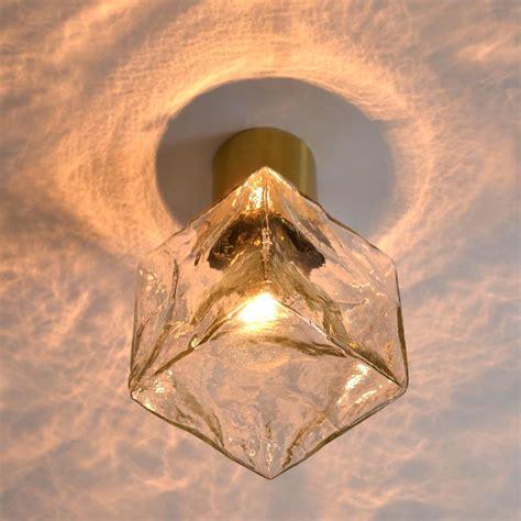 Cube Light Fixture Large Glass Cube Brass Flush Mount Light Fixture By Kalmar Austria 1960s For Sale At 1stdibs