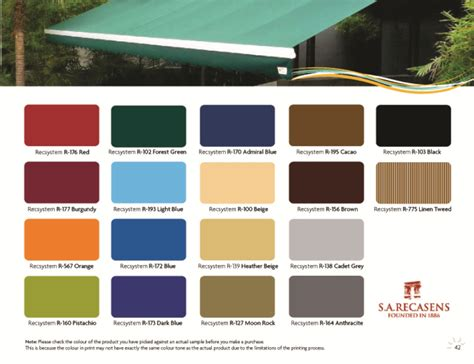awning colours retractable awnings singapore color chart