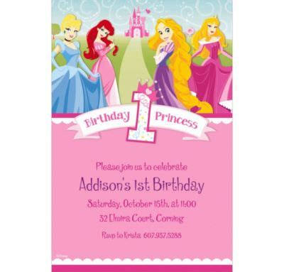 disney princess birthday invitations custom custom disney princess 1st birthday invitations city