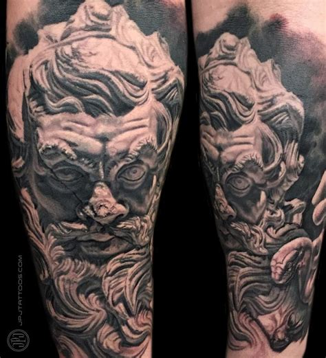 zeus tattoo back zeus statue healed by jose perez jr tattoonow