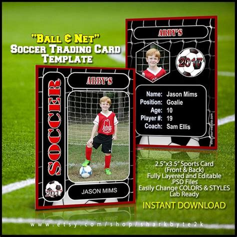 Soccer Player Cards Template soccer sports trader card template for photoshop balls and