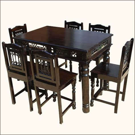 unique 7pcs pub counter height wood kitchen dining room - 6 Person Kitchen Table