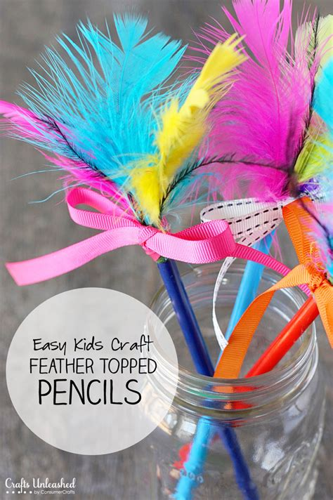 feather crafts for pencil crafts for easy feather topped pencils