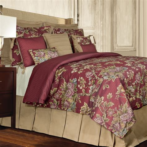 traditional comforter sets rose tree preston 4 piece traditional red floral comforter