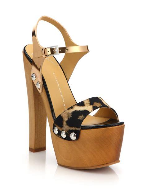platform clog sandals giuseppe zanotti wooden clog platform sandals lyst