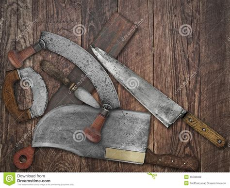 vintage kitchen knives collage wood stock photo