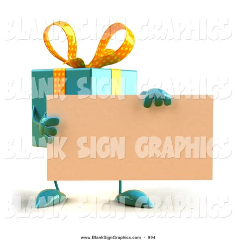vector illustration of a 3d blue gift character holding a