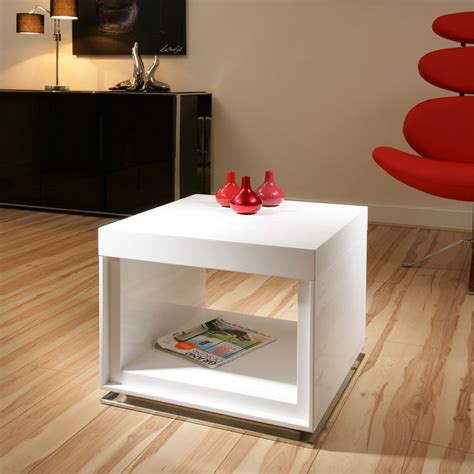 White Gloss Side Table Designer End Side Table Tables White Gloss Square Modern Beautiful 12b Ebay