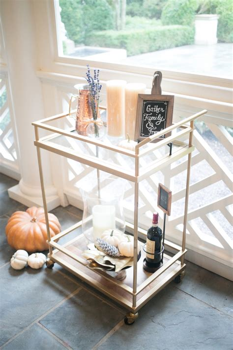How To Decorate Your Livingroom decorate your bar cart for fall fashionable hostess