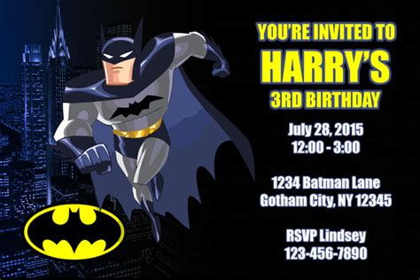 batman invitation card template batman invitations general prints