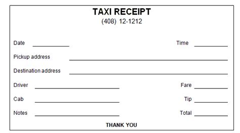 cab receipt template word 50 free receipt templates sales donation taxi