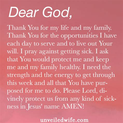 Thank You Letter During Illness prayer not getting sick