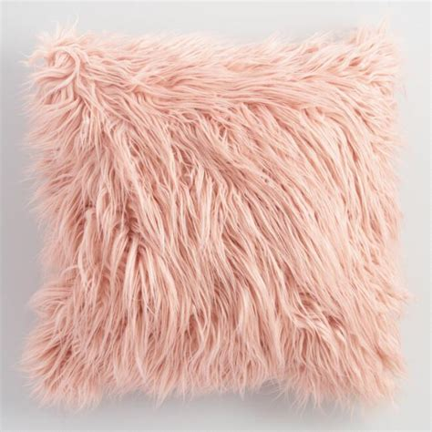 faux fur decorative pillows blush mongolian faux fur throw pillow pink 18 quot square