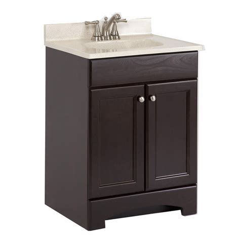 Lowes Bathroom Vanities With Tops Shop Style Selections 24 5 In X 18 6 In Cocoa Integral Single Sink Bathroom Vanity With Cultured