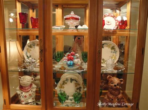 china cabinet decorated for christmas shady meadow cottage