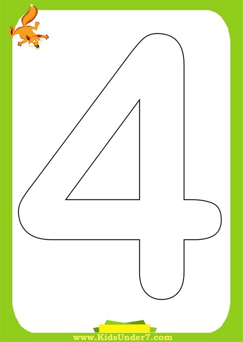 Number 4 Coloring Pages Preschool by Free Template Number 10 Coloring Pages