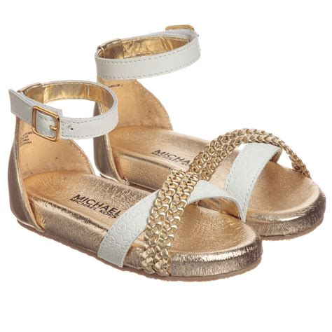 michael kors sandals outlet michael kors white gold leather sandals