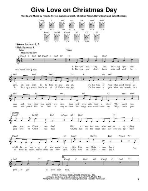 give love on christmas day sheet music direct