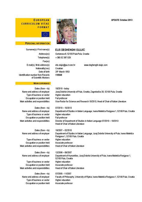Sle Resume European Format Curriculum Vitae Curriculum Vitae European