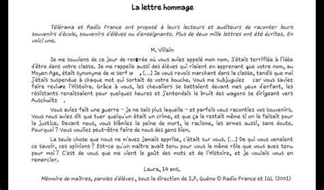 Exemple Lettre Remerciement Enseignant Lecture D Une Lettre Hommage 224 Un Enseignant