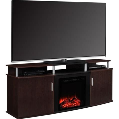 70 quot fireplace tv console in cherry and black 1766196pcom