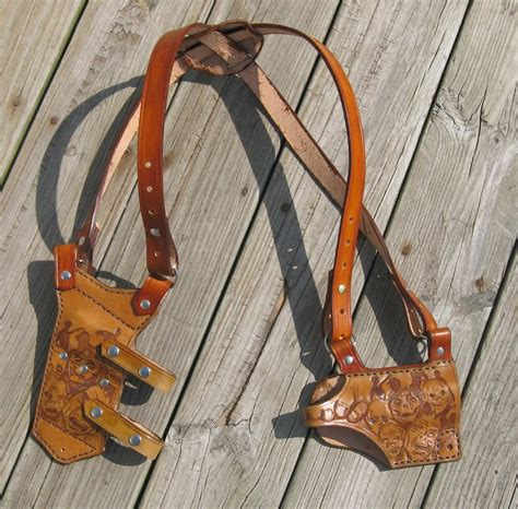 Handmade Leather Shoulder Holster - custom tooled leather shoulder holster with magazine