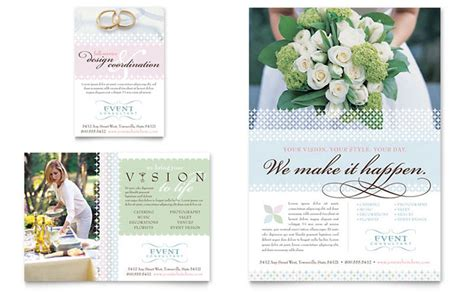 wedding brochures templates free wedding event planning flyer ad template design