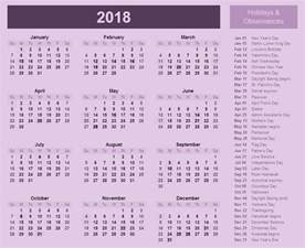 Calendar 2018 With Holidays List 2018 Calendar With Holidays And Observances 2018
