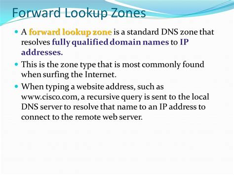Forward Lookup Zone And Lookup Zone Ccna Discovery 2 Chapter 7 Ppt