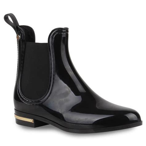 Lack Stiefeletten Damen damen lack stiefeletten gummistiefel chelsea boots schuhe