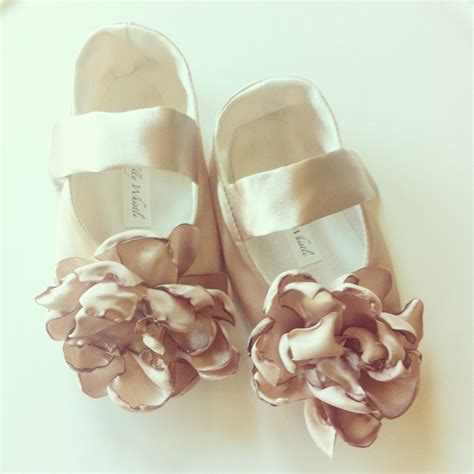 satin flower shoes chagne gold satin flower shoes baby shoes