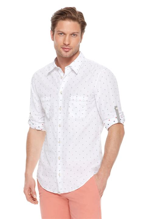 White Shirt With Orange by Orange Califoe Slim Fit Cotton Button Shirt In White For Lyst