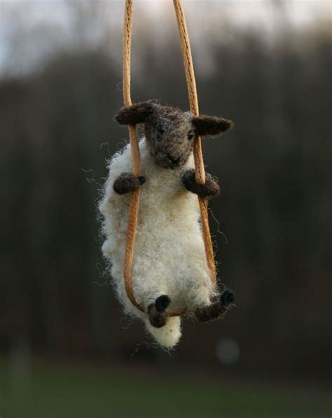 sheep swing needle felted sheep necklace so cute lisa phillips