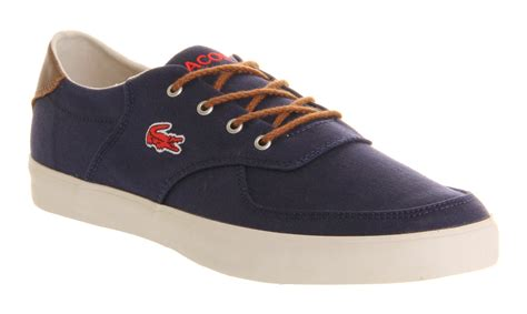 mens lacoste glendon blue canvas trainers shoes ebay