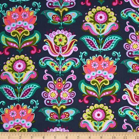 designer fabrics butler bright folk bloom midnight discount