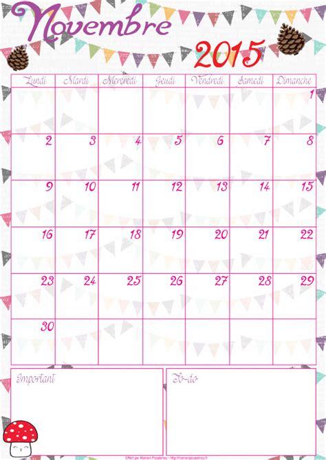Calendrier Novembre 2015 Calendrier Du Mois De Novembre 2015 224 Imprimer