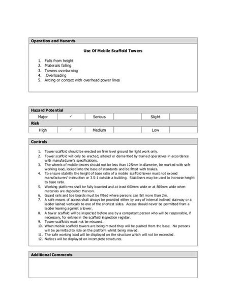 scaffolding risk assessment template 100 hazard assessment template 28 images safety