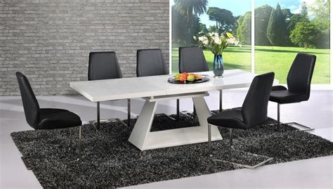 Black Extending Dining Table And Chairs Modern White High Gloss Extending Dining Table And 8 Black Chairs