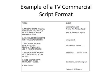tv commercial script template advertising copy development workshops ppt