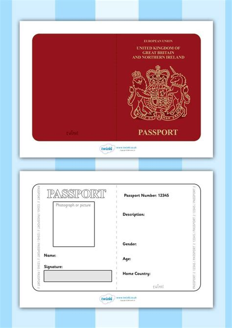 free passport template for twinkl resources gt gt passport template gt gt printable