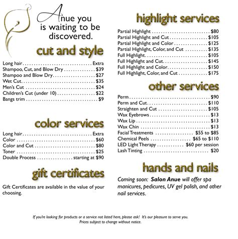 hair of the menu professional hair salon services hair gallery bend 2015 personal