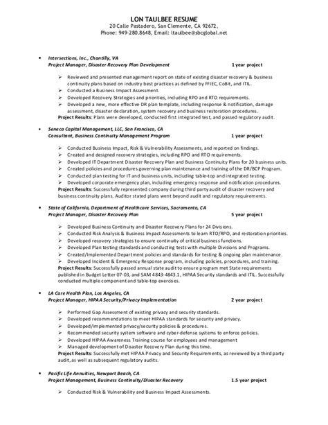 Disaster Recovery Resume Sle Collegeconsultants X Fc2 Com Hipaa Disaster Recovery Plan Template