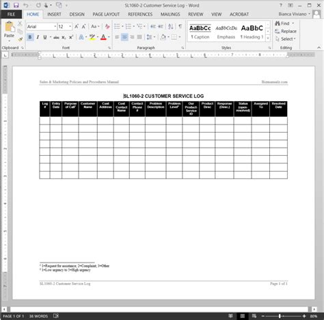 customer service log template sl1060 2