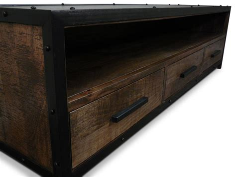 Lowline Bedroom Drawers Industrial Mango 3 Drawer Lowline Tv Unit Living Elements