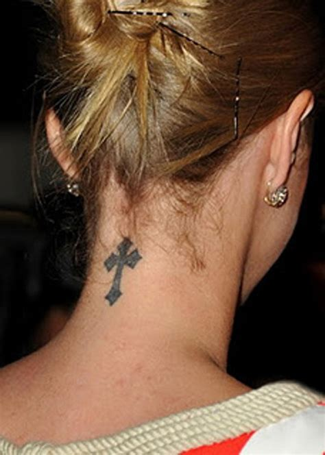 small neck tattoos for women small cross tattoos for on neck designs