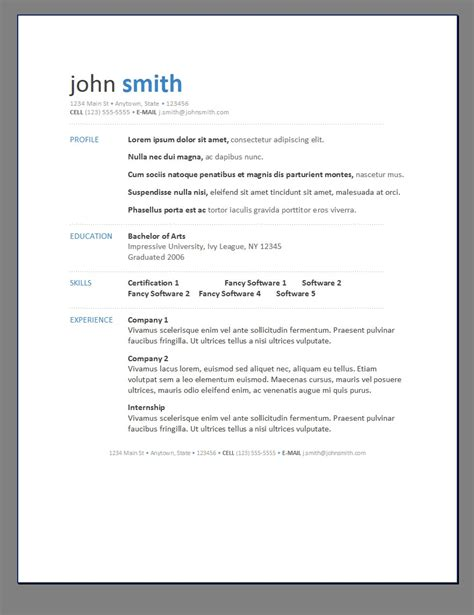 basic resume cv template free intended for easy