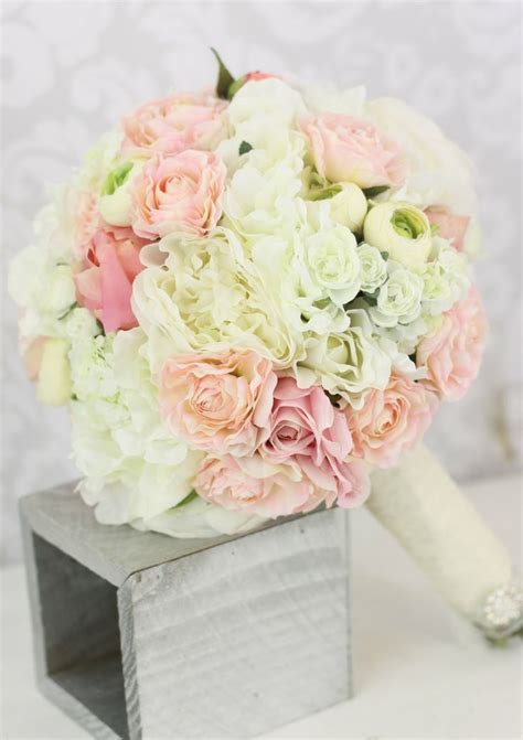 shabby chic wedding decor for sale workshop net silk bride bouquet peony flowers pink cream spring mix