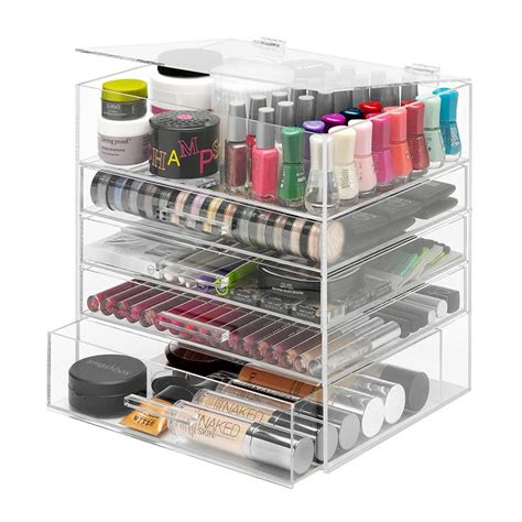 organizer amazon amazon com whitmor 5 tier acrylic cosmetic organizer clear home kitchen
