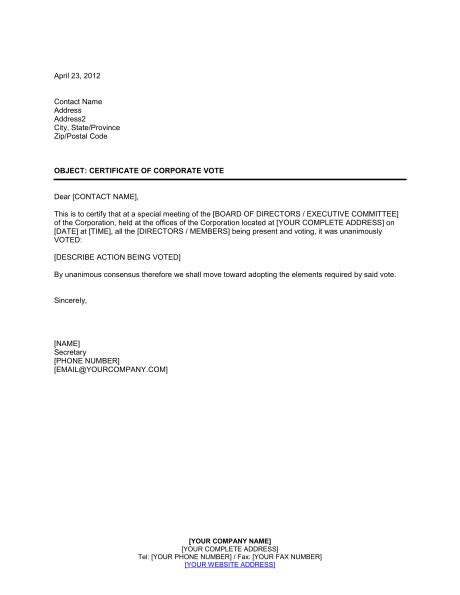 Certificate Of Corporate Vote Template Sle Form Biztree Com Voting Email Template