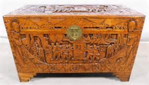 carved camphor wood blanket chest sold
